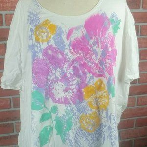 Just My Size T Shirt White Glitter Floral 5XL